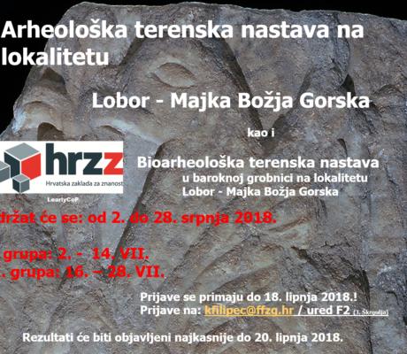 Arheološka i bioarheološka terenska nastava, Lobor MBG 2018.